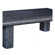 robust french carved bluestone low/coffee table with quadrangular supports