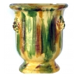a robust french anduze style yellow, green and brown drip-glazed garden pot