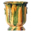 robust pair of french anduze style pottery garden pots with yellow, green and brown drip-glaze (2 available)