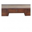 handsome and richly-colored italian neoclassical 5-drawer writing desk with hand-tolled leather top