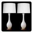 stylish pair of danish modern 1960's ivory glazed ceramic bottle-form lamps