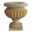 Large-scaled French Neoclassical Style Carved Limestone Lobed Urns (3 Available)