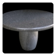 Shapely Carved Belgian Bluestone Round Table with Barrel-form Base