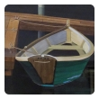 Watercolor on Paper 'Interlude, Two Dories, Boston Harbor signed 'Michael Dunlavey'