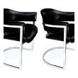 stylish and comfortable pair of italian chrome and black leather chairs designed by Vittorio Introini for Mario Sabot 1970's
