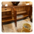 rare and exceptional quality 1940's 3-door tiger mahogany bowfront sideboard by Coene de Frères, Belgium