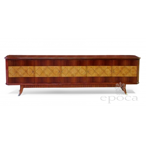 exceptionally long and superb quality italian mid-century 5-door walnut and sycamore incurved sideboard in the manner of Paolo Buffa