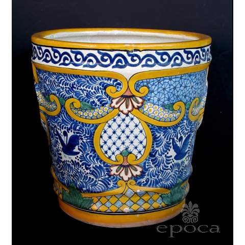 a massive and colorfully-glazed mexican conical-form pot
