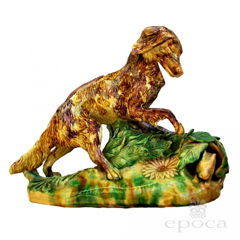 an expressive and rare english yellow ware polychromed figure of a hunting dog and hare