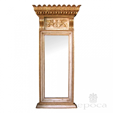 regal and boldly-scaled swedish neoclassical ivory painted and parcel-gilt pier mirror