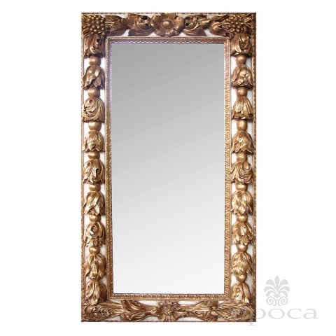 large-scaled and deeply-carved continental baroque style ivory painted and parcel-gilt rectangular mirror