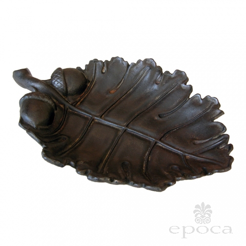 a boldly-scaled american arts & crafts cast iron oak leaf bowl