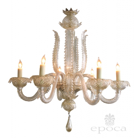 venetian mid-century aventurine-glass 6-light chandelier with large-scaled foliate elements