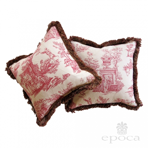 a sumptuous pair of burgundy and ivory toile pillows with silk fringe