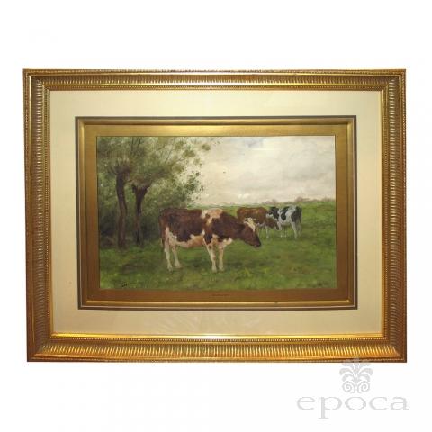 a serene dutch landscape watercolor painting of three cows grazing in a field; by  Adrianus Groenewegen 1874-1963 (Netherlands)