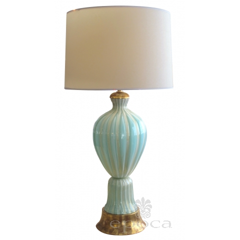 large and good quality murano 1950's barovier & toso seafoam green lamp