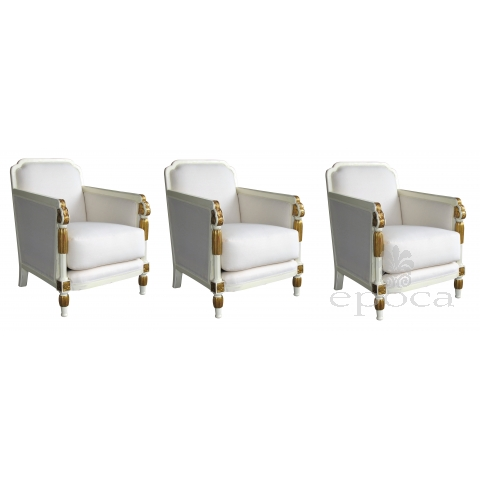stylish french art deco set of 3 ivory painted and parcel-gilt club chairs