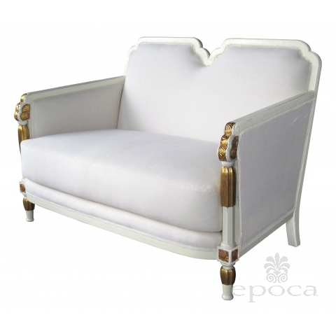 a stylish french art deco ivory painted and parcel-gilt settee