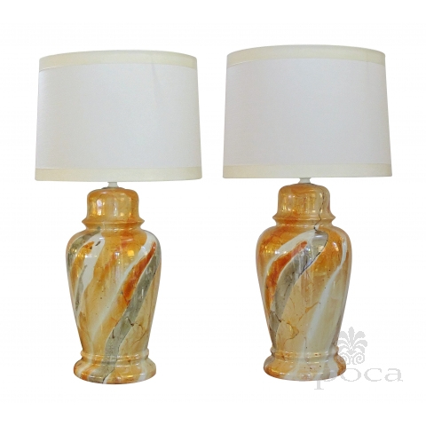 classic pair of mid-century asian style ginger jar lamps in a rich swirling luster glaze