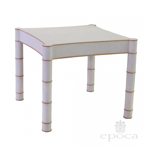 a stylish american 1970's Karl Springer style parchment-veneered faux bamboo game table epoca san francisco
