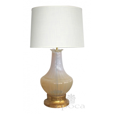 large-scaled murano mid-century buttter-cream opaque glass bulbous-form lamp