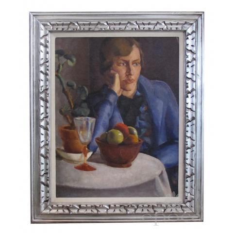 oil on board; a finely rendered continental art deco painting of a seated woman