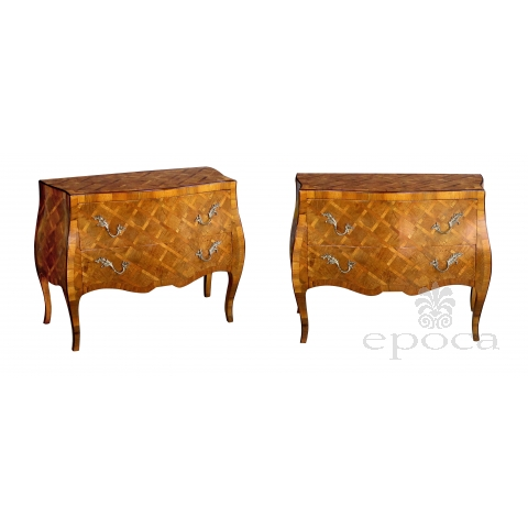 shapely pair of italian rococo style bombe-form olivewood 2-drawer chests with parquetry inlay shapely pair of italian rococo style bombe-form olivewood 2-drawer chests with parquetry inlay