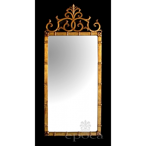 stylish italian 1960's hollywood regency rectangular mirror with gilt-metal frame; attributed to Palladio