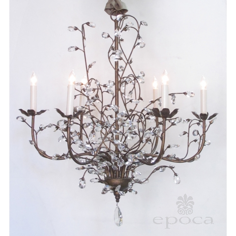playful italian 1970's bronze lacquered metal 6-arm chandelier adorned with crystal foliate tendrils