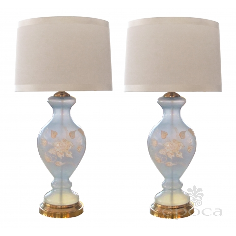 an ethereal pair of american 1960's frosted ice-blue glass baluster-form lamps with raised floral decoration