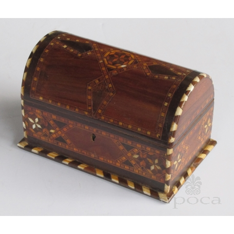 well-crafted and richly-patinated syrian inlaid trinket box with domed lida