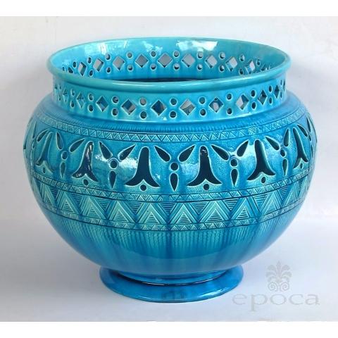 rare and large english burmantofts faience teal-glazed pierce-work jardinière/urn/pot