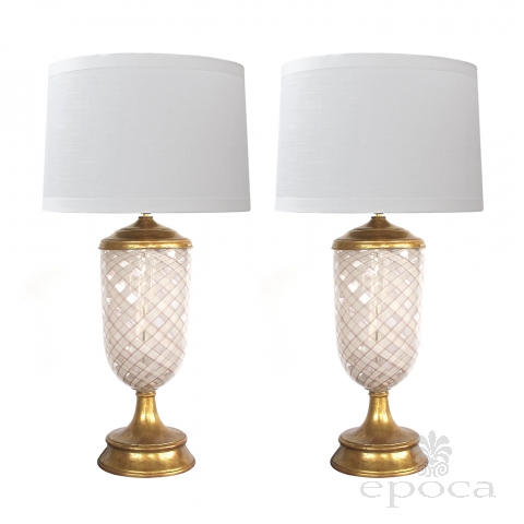 Large & Striking Pair of Murano Pink and White Lattacino Lamps by Dino Martens for Aureliano Toso