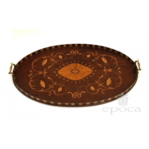 An Intricately Inlaid English Victorian Marquetry Oval Tray with Brass Handles