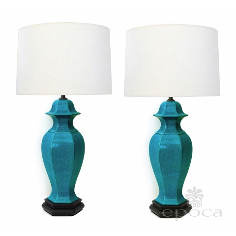 Pair of Asian-Inspired 1960's Turquoise Crackle-glaze Ginger Jar Lamps