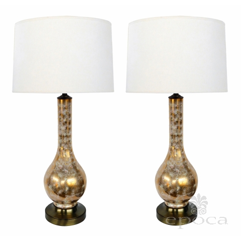 Pair of Murano 1960's Gold and White Glazed Bottle-form Lamps with Colored Specks