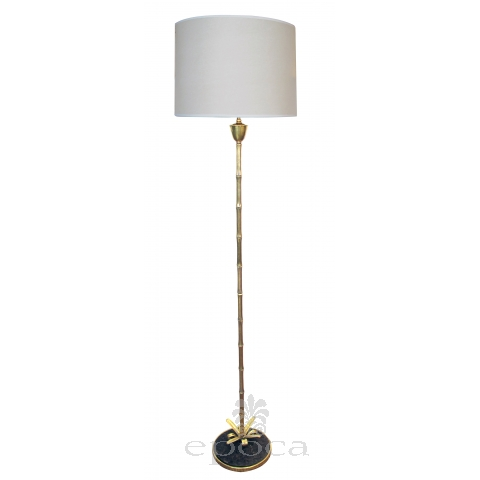 an elegant french maison bagues 1960's brass faux bamboo floor lamp