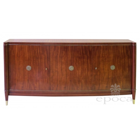 a rare and exceptional quality 1940's 3-door tiger mahogany bowfront sideboard by Coene de Frères, Belgium