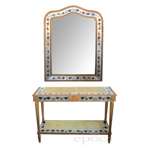 french maison jansen neo-classical style 1940's eglomise console table and mirror