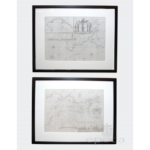 a handsome pair of framed sea charts of the coasts of Great Britain by Captain Greenvile Collins; mi