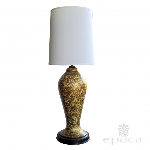 a monumental and good quality kashmiri polychromed mille fleurs lacquered urn now mounted as a lamp