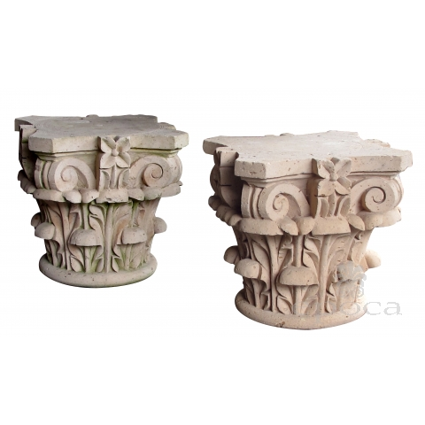 large and dramatic pair of mexican hand-carved cantera stone corinthian capitals