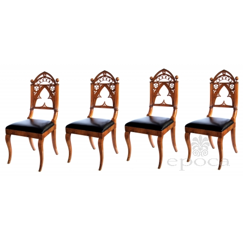 handsome and well-carved set of 4 continental gothic revival klismos-form walnut side chairs; possibly austrian or german