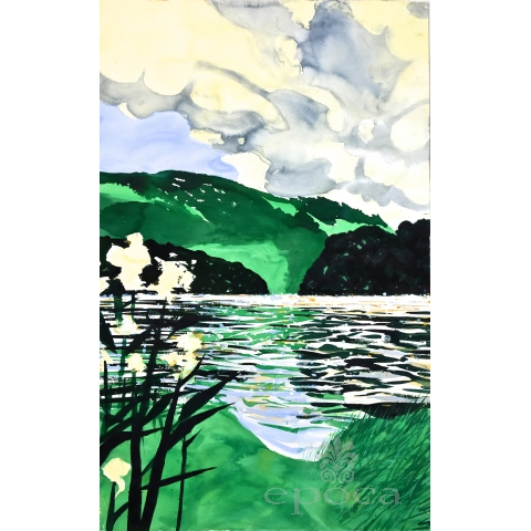 At Grasmere #2 1996, Lake District Series, England  (watercolor on paper)  by william stanisich, san francisco; signed and framed